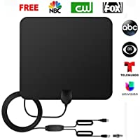 Digital TV Antenna Indoor, Amplified Antenna 50 Mile Range with Detachable Amplifier Signal Booster, Upgraded Version-10ft Coax Cable Better Reception