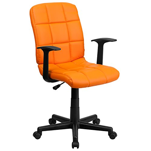 Superb Flash Furniture Mid Back Orange Quilted Vinyl Swivel Task Chair With Arms