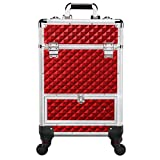 Yaheetech Rolling Makeup Case - Aluminum Cosmetic Trolley Train Case Sliding Drawer With 4 Retractable Trays Red