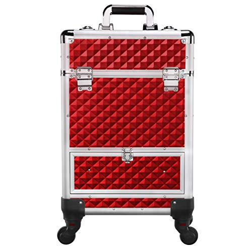 Nail Polish Hair - Yaheetech Rolling Aluminum Make Up Case Red - Cosmetic Trolley Train Case Sliding Drawer With 4 Retractable Trays