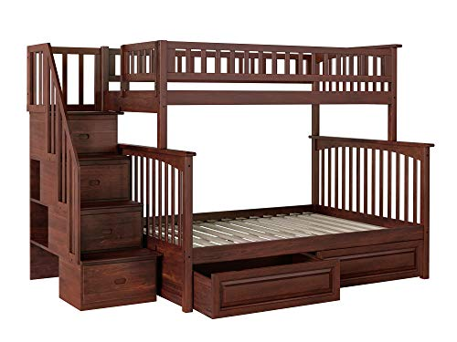 (Atlantic Furniture AB55724 Columbia Staircase Bunk Bed with Raised Panel Bed Drawers, Twin/Full, Walnut )