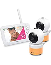 """VTech LM918-2W Video Baby Monitor with 5"""" Screen, Pan Tilt Zoom, Sound Activated Night Light & Glow-On-The-Ceiling Projection, Night Vision, 2 Cameras, Multiple Viewing Options, White"""
