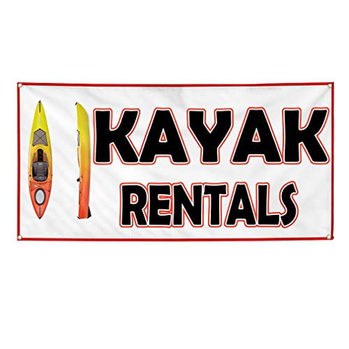 Vinyl Banner Sign Kayak Rentals White Black Yellow Business Marketing Advertising White - 24inx48in (Multiple Sizes Available), 4 Grommets, Set of 5 from Sign Destination