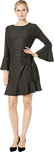 (eci Women's Metallic Dot Knit Faux Wrap Dress Black/Gold Large)