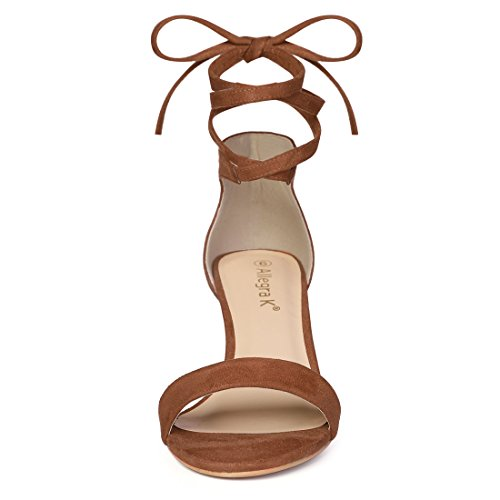 Lace Brown K Allegra Sandals up Heel Women Kitten wHwR0CIq