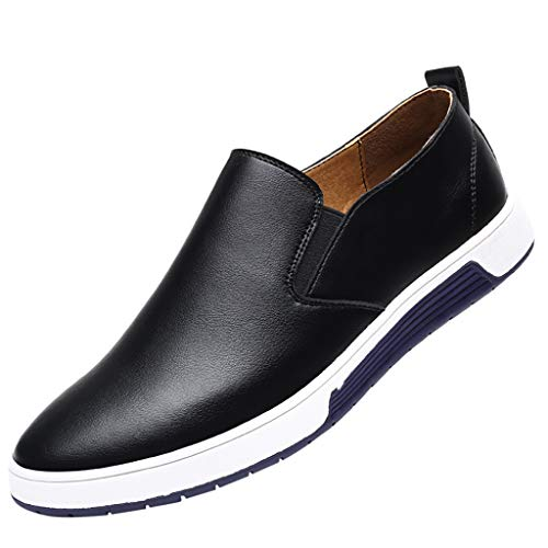 Leather Lambskin Platforms (Answerl☀ Men's Casual Oxford Shoes Slip-On Round Toe Flat Platform Fashion Sneakers Leather Walking Shoe Black)