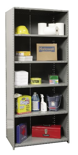 Hallowell 4721-18HG Medium-Duty Closed Hi-Tech Shelving Starter Unit with 6 Shelves, Hallowell Gray Steel, 48