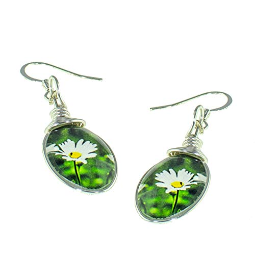 Handmade Daisy Earrings, Petite Glass Drop Dangle Earrings, Jewelry for Women
