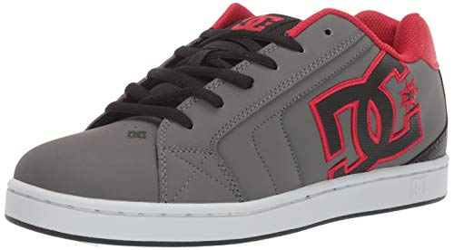 DC Men's NET Skate Shoe, Black/Grey/red, 7 M US