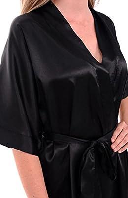 Alexander Del Rossa Del Rossa Womens Soild Color Satin Robe, Short Dressing Gown
