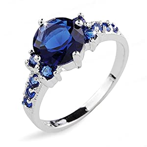 Aiyaya®18k White Gold Plated Cushion-Cut Blue Sapphire Finger Rings For Womens Sz8