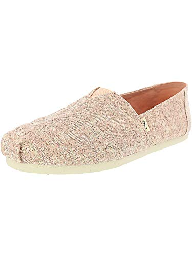 TOMS Women's Classic Black Ivy League Stripes - 6.5M - Pink Glitter Daisy
