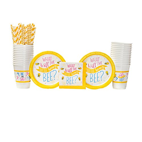 What Will It Bee? Party Supplies Pack for 16 Guests: Straws, Dessert Plates, Beverage Napkins, and Cups -