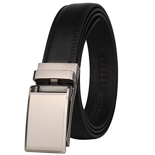 Lavemi men's Ratchet Click Slide Dress Belt with Genuine Lea