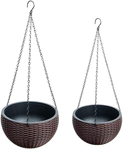 Foraineam 2-Pack Dual-pots Design Hanging Basket Planters Self-Watering Indoor Outdoor Plant Flower Hanging Pots with Drainer and Chain, 2 Size Assorted