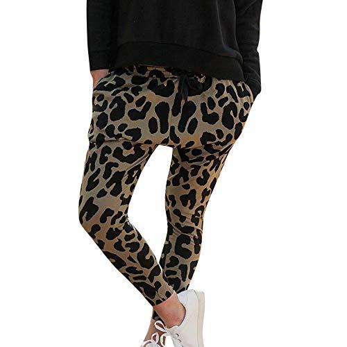 Leoy88 Women Leopard Print Pants Women Sports Casual Pants