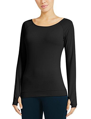 Baleaf - Camisa deportiva - Escotado por detrás - Manga Larga - para mujer negro