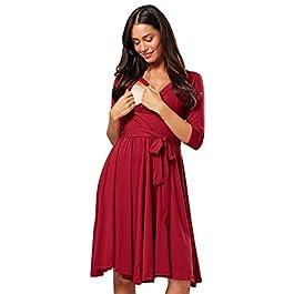 HAPPY MAMA. Women's Maternity Nursing Midi Dress Double Layer 3/4 Sleeve 609p