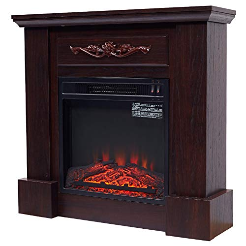 "HOMCOM Freestanding Electric Fireplace Heater with Mantel, Wood, 1400W, 30"" H, Dark Brown"