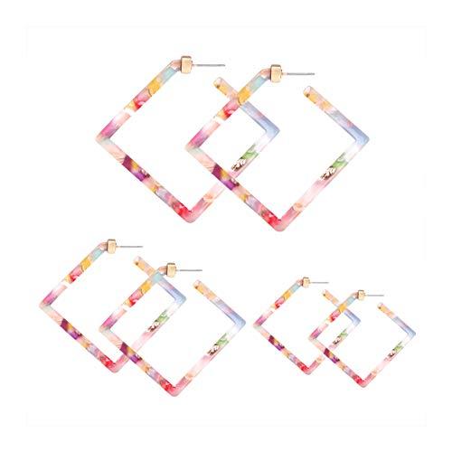 YAHPERN Acrylic Earrings Statement Square Hoop Earrings Geometric Resin Tortoise Stud Earrings Minimalist Dangle Earring Set for Women -