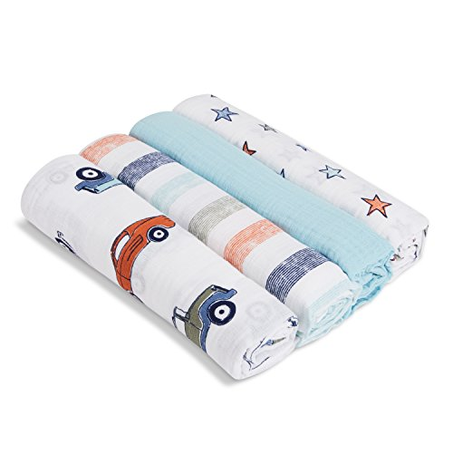 Aden by aden + anais Swaddle Blanket, Muslin Blankets for Girls & Boys, Baby Receiving Swaddles, Ideal Newborn Gifts, Unisex Infant Shower Items, Toddler Gift, Wearable Swaddling Set, Cars
