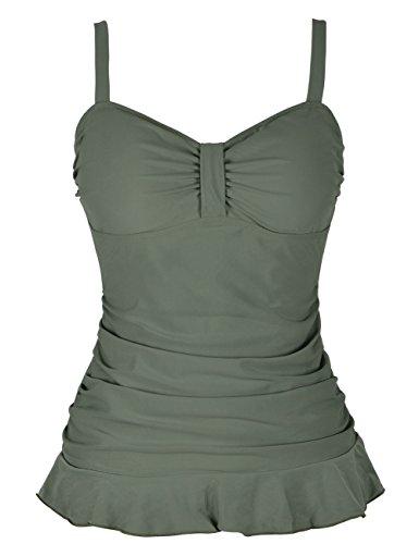 Mycoco Women's Ruffle Hem Swim Top Ruched Tankini Tops Army Green 16 ()