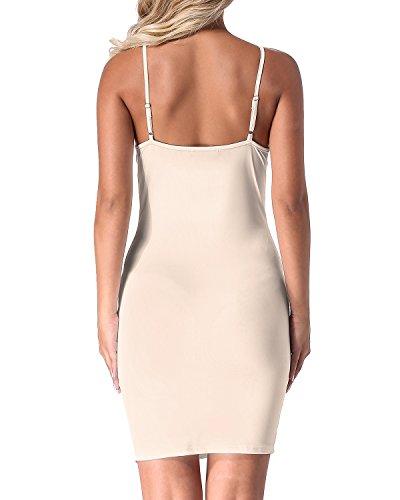 Mujer Vestido Fiesta Tirantes Sin Falda Delgado Auxo beige Backless Casual Verano Mangas 02 Ajustado dz54aq