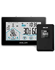 Weather Station with Wireless Outdoor Sensor Touch Screen Indoor Outdoor Temperature Thermometer with Time Date Display Function,Humidity, Wind speed