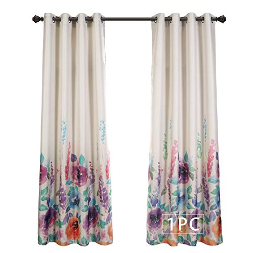 MYSKY HOME Premium Floral Curtains for Bedroom, Natural Linen Textured Room Darkening Curtains with Flower Print Design, Set of 1 Curtain Panel (52 x 95 Inch, Purple)
