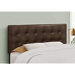 Bedroom Monarch Specialties Button Tufted Upholstered Modern Headboard Panel Height Adjustable, Full, Dark Brown Leather-Look modern headboards