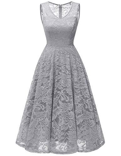 Meetjen Women's Cocktail V-Neck Dress Floral Lace Tea-Length Bridesmaid Party Dress Midi Grey S ()
