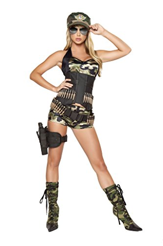 Roma Costume 5 Piece Army Babe Costume, Camouflage, Small