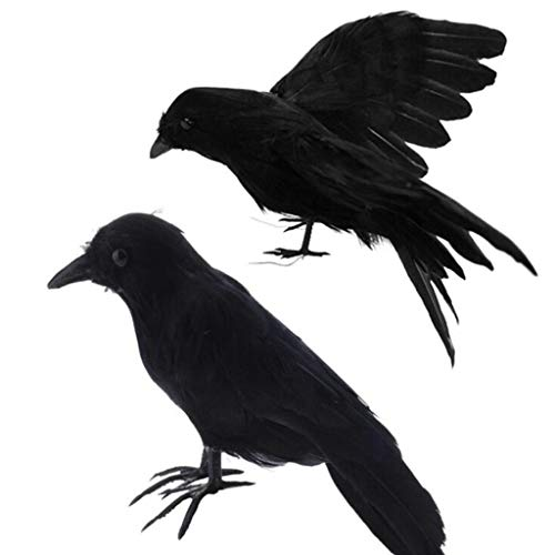 Shan-S Halloween Artificial Realistic Woodland Lifelike Feathered Crows Black Birds for Garden Home Halloween Props Decor Ornaments from Shan-S