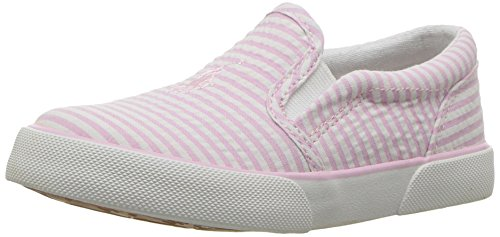 Polo Ralph Lauren Kids Girls' Bal Harbour II Sneaker, Light Pink Striped Seersucker, 9 Medium US Toddler Pink Striped Seersucker