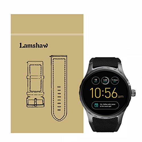 For Fossil Q Marshal Band, Lamshaw Classic Silicone Replacement Band for Fossil Q Marshal - Black Marshal