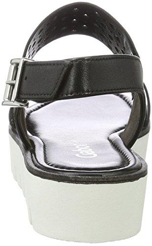 Gabor Dames Sandales De Mode Avec Talon Compensé, Noir Bleu (noir (s). Blanc 27)