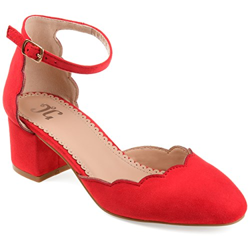(Journee Collection Womens Scalloped Ankle Strap Pumps Red, 9 Regular US)