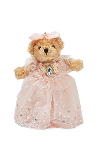 "Bride Teddy Bear in Pink Tutu Dress Wedding Stuffed Animal Soft Plush Toy 10"" (light brown, pale pink)"