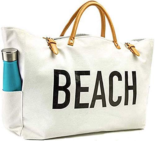 KEHO Large Canvas Beach Bag Travel Tote (White), Waterproof Lining, 3 Pockets, FREE Phone Protector (Best Beach Bag Ever)