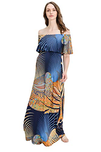 - Hello MIZ Women's Ruffle Off The Shoulder Maxi Maternity Dress - Made in USA (Navy Multi Geo, M)
