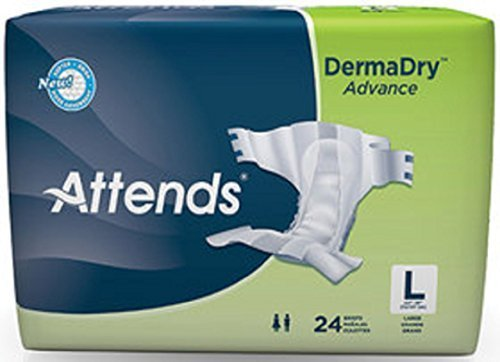 Attends DermaDry Advance Briefs, Large (44 to 58 Inch Waist) Replacement for Attends Breathable Briefs Model#BRB30 by Attends Healthcare