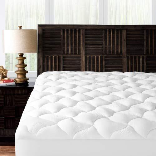 Mandarin Home Collection Ultra Soft Rayon Derived from Bamboo Plush Mattress Topper - Premium Hypoallergenic Mattress Pad - King ()