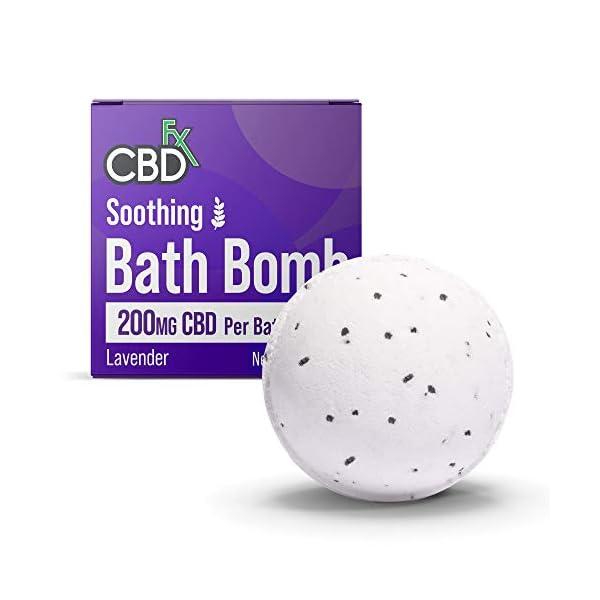CBDfx Soothing Lavender CBD Bath Bomb contains 200mg CBD oil, lavender oil and Hawaiian Black Salts
