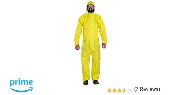 Ansell AlphaTec 2300 PLUS Mono de Trabajo con Capucha, Traje para Químicos, Usos Industriales, Biológicos y Bricolaje, Amarillo, Tamaño S (1 Unidad)