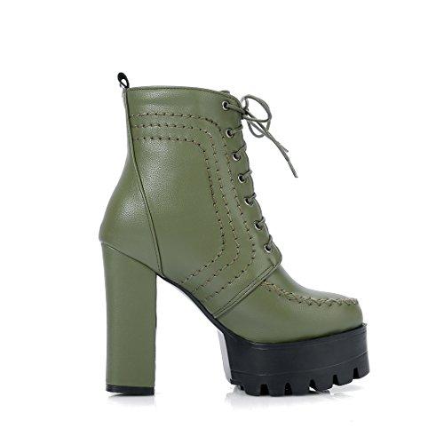 YE Damen Ankle Boots Plateau High Heels Stiefeletten mit Schnürsenkel und Blockabsatz 12cm Elegant Modern Schuhe Grün
