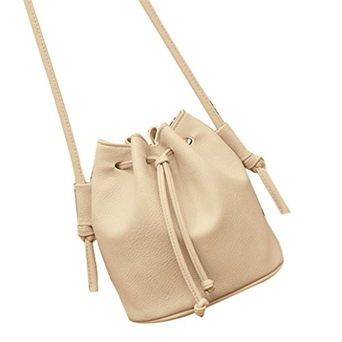 Leather Cute Simple Faux Drawing Bucket Fashion Shoulder Crossbody Women String Beige SWIDUUK Bag a5nqIXn