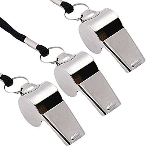 Coach Whistle - Gostscp Metal Referee, Coach Whistle, Stainless Steel, Extra Loud Whistle with Lanyard for School Sports, Soccer, Football, Basketball and Lifeguard Protection