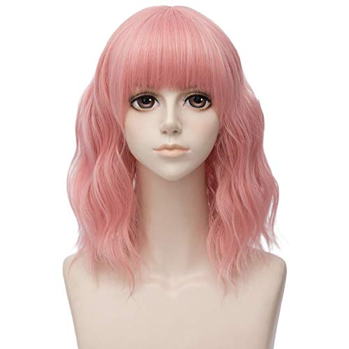 Diy-Wig Women Pink Wig Short Curly Wavy Bob Synthetic Cosplay Hair Full Wigs with Wig Cap -