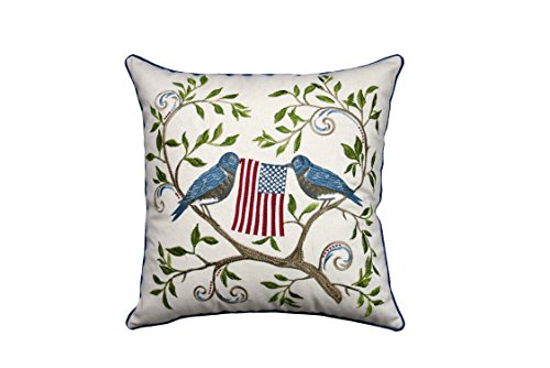 Decorative Flag Pillow (Lichao Birds and Flag Home Decorative EMBROIDERY Poly/Linen Square Pillow Case 18