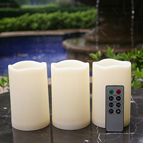 Waterproof Outdoor Flameless LED Candles - with Remote and Timer Realistic Flickering Battery Operated Powered Electric Electronic Plastic Resin Pillar Candles by Qidea 3-Pack 3